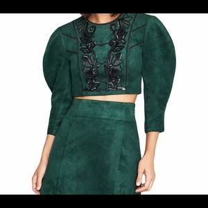 Sexy  BCBG Max Azria Green Sequined Faux Suede💚